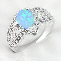 Wholesale Mix Color Unique Weddings Jewelry Drop Blue Color Fire Opal Gemstone Sterling Silver Weddiing Ring