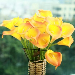 Wholesale 10pcs Mini Size PU Calla Lily Real Touch Flower Artificial Flowers for Wedding Decoration Party Flower for Gift Home Hot Sale