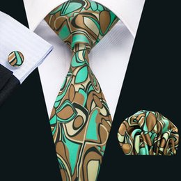 Mens Silk Ties Novelty Green Brown Geometric Business Wedding Neck Tie Set Include Tie Cufflinks Hankerchief Necktie N-1217