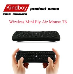 Wholesale best GHz Wireless Mini Fly Air Mouse T6 Gyroscope Qwerty Keyboard Remote Control for Android TV Box Mini PC M8 MXQ CS918 MXIII