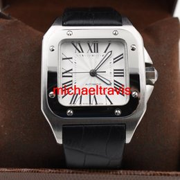New brand sport luxury AAA quality 100 XL black men date automatic mechanical watch men watches sports 40MM leather belt Original Clasp