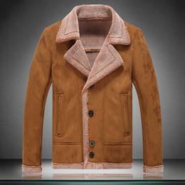 Fall-2015 New Men Suede Leather Jackets Winter Fur Coats Size M-5XLFaux Fur Coats Male Casual Wool Outerwear Warm Fleece Lining
