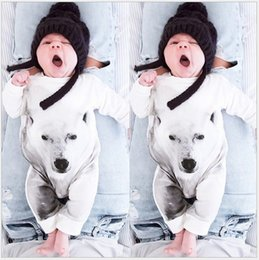 Retail 2016 New Autumn Baby White Wolf Printed Romper Infant Long Sleeve Jumpsuits Toddler Cotton Rompers Newborn One-Piece Babies Onesies