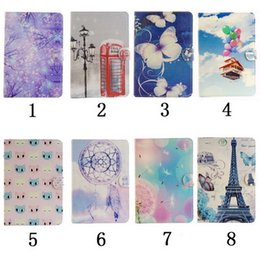 Wholesale For Samsung GALAXY Tab T210 T110 T530 T800 T330 KickStand Cover with Smart Flip Wallet Simple Cover Hot air balloon Wind chimes tower Case