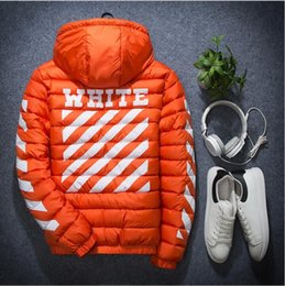 Wholesale OFF WHITE Brand Men Thick Warm Cotton Padded Hoodie Jacket Chest Logo Print High Collar Windproof Hoodie Coat Men Winter Outdoor Jacket