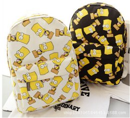 Wholesale New Hot sale Cartoon Simpson bart man print backpacks canvas male female students school backpack shoulder bags