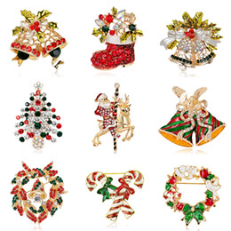 Wholesale 2016 New Fashion Rhinestones Brooches as gift Christmas Tree Christmas Boots Jingling Bell Santa Claus Brooches Pins for Women Kids Jewelry