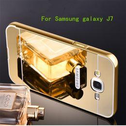 Wholesale For Samsung galaxy J1 mini J7 J3 Luxury Gilded Aluminum Metal bumper Frame Acrylic Mirro Back Case