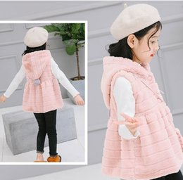 2017 new style baby girl clothing winter vest comfortable warm sweet cute plush hooded pink waistcoat with pocket