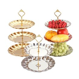Stainless Steel Golden Silver 2 Or 3 Tier Fruit Cake Dessert Plate Candy Stand