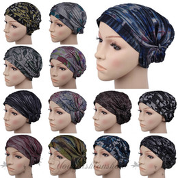Wholesale Fashion Women Lady Muslim Head scarf hijab shawl Stretchy Turban Headwrap Beanie Hat Band Bandana Pleated Indian Styles Caps Z373