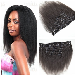 Peruvian Human Hair 7pcs Clip In Human Hair Extensions 12-26 Kinky Straight Clip Hair Extensions G-EASY natural black 120g