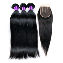 7a Brazilian Human Straight With Closure Unprocessed Brazilian Straight Hair 3 Bundles With Closure Brazilian Human Hair Weave HC Products