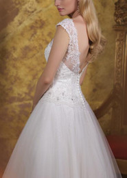 New Vintage Style Ankle Length Wedding Dresses Cap Sleeve Scoop Neck Beaded Lace Tulle A Line Short Bridal Gowns Custom