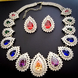 Wholesale heart wedding jewelry set NJ multicolors cubic zirconia with little clear crystals colors Rihood designs