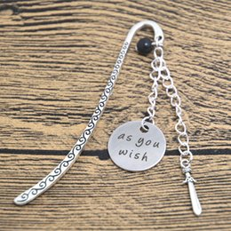 Wholesale 12pcs As you wish quote Bookmark Princess I love you Silver tone crystal Sword charm Bookmark