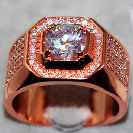 Wholesale New Fashion Atmospheric Sterling Silver Rose Gold Simulated Diamond Zircon Cocktail Ring Boys Wedding Band Jewelry For Men Size