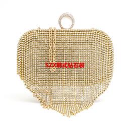 Tassel Rhinestone Finger Ring Evening Bags Diamonds Wedding Handbags Women Clutch Shoulder Bags Purse Bag Handbags