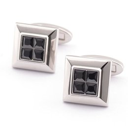 Free shipping 2016 New black Crystal Cuff link Wholesale Buttons designer High Quality shirt cufflinks for mens 980016