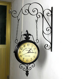 Wholesale Wrought Iron Wall Clock Fashion Nostalgic Vintage Double Faced Clock Silent Movement Antique Iron Double Faced Clocks
