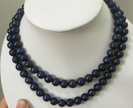 "Hot sell double strands 10-11mm round tahitian black blue pearl necklace 18"" 19'' 14k gold clasp"