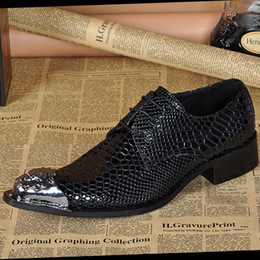 Hand snake leather men's shoe Retrostyle business metal toe lace Oxford boys dress shoes wedding shoes casual shoes