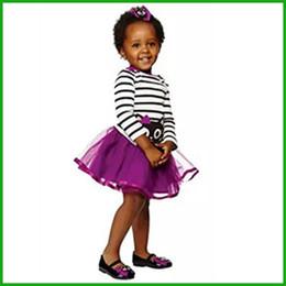 summer girls suits 2pcs striped cat print o-neck long sleeve t-shirt purple dresses children sundresses kids vestidos fashion free shipping