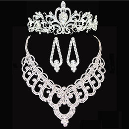Wholesale Set Earrings Necklace Price - Bridal crowns Accessories Tiaras Hair Necklace Earrings Accessories Wedding Jewelry Sets cheap price fashion style bride HT143