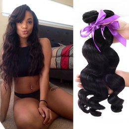 Wholesale Raw A Unprocessed Malaysian Loose Wave Hair Extensions Natural Black can be dyed Inches Pieces Plastic Package soft