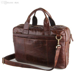 "Wholesale-Vintage Real Genuine Leather Bag Men Messenger Bags Cowhide Portfolio Briefcase Business Men Travel Bags 14"" laptop bag"