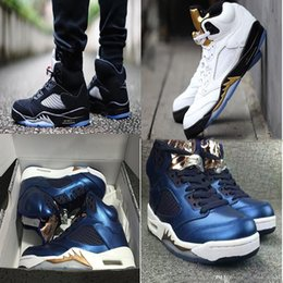 Promotion bleu argent rétro Air 5 V Olympic Bronze Coin Silver Gold Metallic Olympic Bleu OG Black Metallic Fire Red Oreo hommes Chaussures de basket EUR 41-47