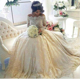 Real picture 2016 ivory lace 2019 a line wedding dresses off the shoulder long sleeve applique chapel train party bridal gowns