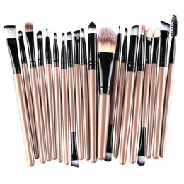 Mybasy 20Pcs Eyes Face Makeup Brushes Set Pro Eyeliner Eyelash Eyeshadow Blusher Powder Foundation Brushes Cosmetic Beauty Kit