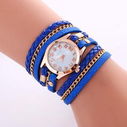 Wholesale Fashion Colorful Vine women watches Weave Wrap Rivet ladies Leather Bracelet wristwatches chain dress watches