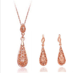 Wholesale HOT Fashion women Jewelry Sets Earring Necklace Alloy Earrings & Necklace Wedding Party Gold White K FREE SHIPPING