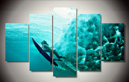 Wholesale Framed Printed surfing underwater Group Painting wall art children s room decor print poster picture canvas