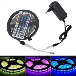 non waterproof SMD 5050 RGB LED Strip Light 30LEDs M 5M Flexible tiras led Tape + 44key Remote Controller + DC 12V Power Adapter