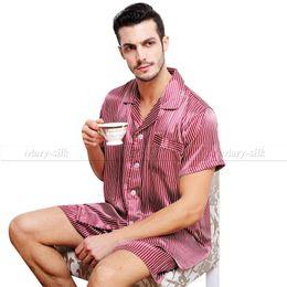 Wholesale-Summer Mens Silk Satin Pajamas Pajama Pyjamas PJS Set Sleepwear Loungewear S,M,L,XL,2XL,3XL Short Sleeves Black Gift Shorts