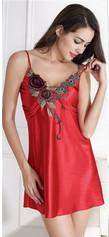 Summer Style Womens Satin Slip With Embroidery Silk Sleepwear Slip Sexy Nightgowns Silk Nightdress Sleepwear M-2XL