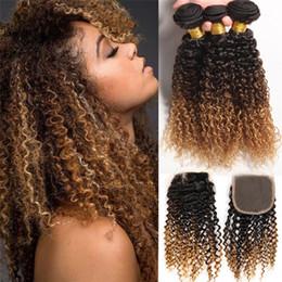 2017 27 bouclés ombre Ombre brésilienne cheveux avec fermeture Kinky Curly 3 paquets Ombre # 1b / 4/27 brésilienne cheveux tissage paquets avec fermeture 8A 27 bouclés ombre sur la vente