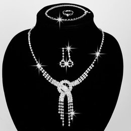 Wholesale Fashion Rhinestone Four peice suit Bridal Jewelry Necklace Earrings Ring Bracelets Cheap Price Hot for Wedding and Gift New Style H0002