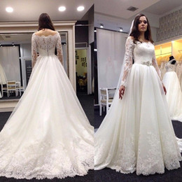 Long sleeve lace wedding dress bateau neck sheer back lace bridal gown with sleeved A line tulle wedding dress custom made