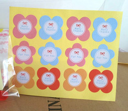 flower shape paper gift FOR YOU package self adhesive sticker label