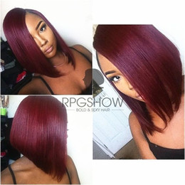 "12"" Ombre Burgundy Bob Wig Human Hair Glueless Full Lace Wig Bob Ombre Human Hair Full Lace Wig Straight Wigs For Black Women"