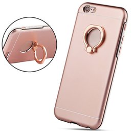 Ultra Thin Cell Phone Cases Solid Pink Gold Phone Cover with Ring Kickstand for iphone 7 7Plus 6s 18