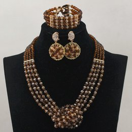 coffee gold pendants bridal jewelry set indian crystal necklaces jewelry set african fashion jewelry wholesale price for wedding women gift