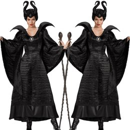 Wholesale Sleeping curse costumes Adlut Maleficent Cosplay Halloween Costumes for Women Female Witch Cosplay Black Christening Gown Costume