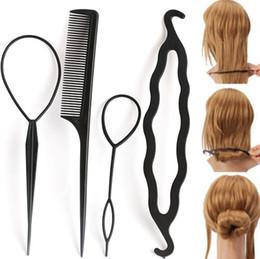 2017 estilos de trenzar el pelo de la muchacha 4Pc / Set cabello torcedura estilización Clip Stick Bun Maker Braid Herramientas Accesorios para el cabello caliente para las mujeres Lady Girls estilos de trenzar el pelo de la muchacha promoción