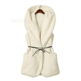 Wholesale Best Selling NEW Womens Ladies Hoodie Faux Lamb Fur Long Vest Jacket Coat With Hat colors