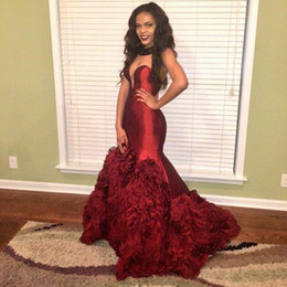 Burgundy Mermaid Prom dresses 2016 Elegant Taffeta arabic Sweetheart back Corset Cascading Ruffles Sexy black Girl Prom Evening Gown
